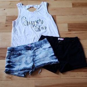SO Girl's Denim shorts top lot, sz 16